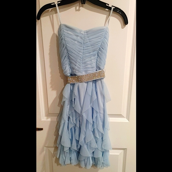 Light blue formal strapless dress, Le Chateau